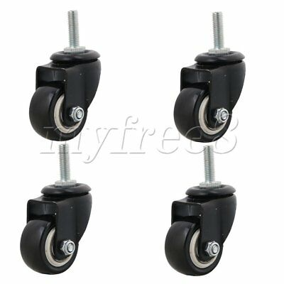 "4PCS M8 Screw 1.5"" Black PU Furniture Swivel Castor Wheel Trolley Caster"