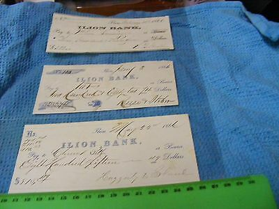 Lot of 3 USA genuine 1866 cheques/checks New York State..Civil War  ended in '65