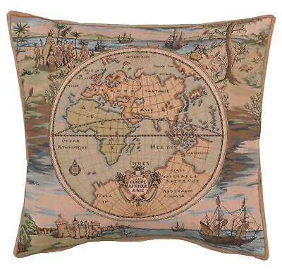 Map of the World Europe Asia Africa French Decorative Tapestry Cushion