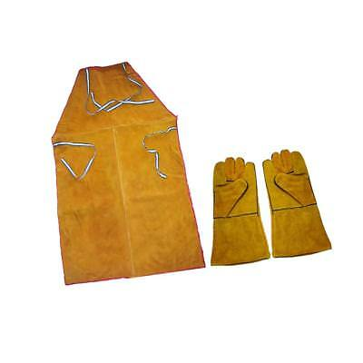 Welder Apron Heat Insulation Cowhide Leather +1 Pair Yellow Welding Gloves