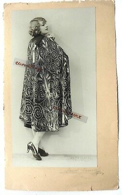 PHOTO MODE 1930 HENRI MANUEL signé art deco Marthe CHAUMONT manteau cape