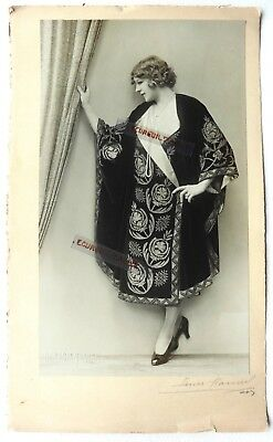 PHOTO MODE 1930 HENRI MANUEL signé art deco Marthe CHAUMONT robe à motifs