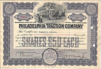 Philadelphia Traction Company....1929 Stock Certificate