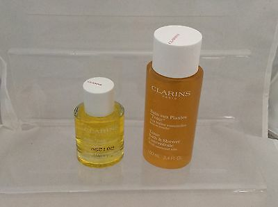 CLARINS tonic body treatment oil 30ml /tonic bath & shower concentrate 100ml set