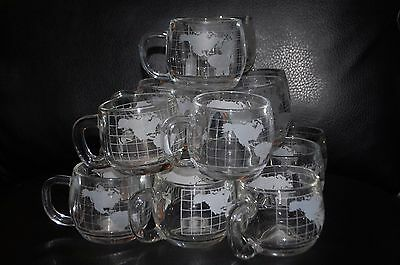 Nestle Etched World Globe Mugs Cups