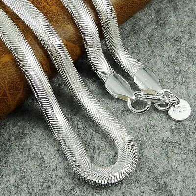 "6mm Flat Solid 925 Silver Sterling Snake Chain Necklace 16""-24"" UK"