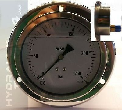 Hydraulic Manometer Glycerin Stainless Steel Eco-Line 0- 25 Bar