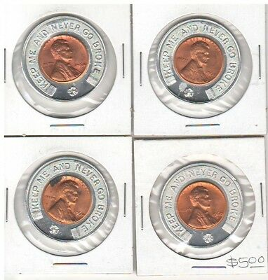 """Mixed Lot of 4 Lucky Pennies """"Keep Me and Never Go Broke"""" Advertizers"""