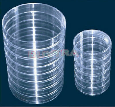 10clear Sterile Plastic Petri Dishes for LB Plate Bacterial Yeast 90mmx15 mm HL
