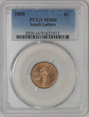 1858 Flying Eagle Cent 1c Small Letters MS66 PCGS