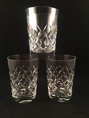 """3 Royal Brierley Crystal WESTMINSTER Cut Whisky Tumblers 3 1/2"""" Tall Stunning"""