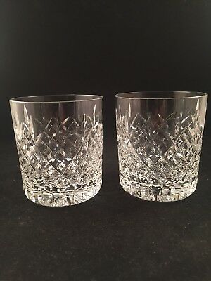 2 Royal Brierley Crystal NOTTINGHAM Cut Whisky Tumblers Signed 1st Quality 3 3/8