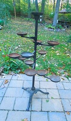 Antique Victorian Cast Iron 9 Swing Arm Plant Planter Stand-12 Holders & 9 Tiers