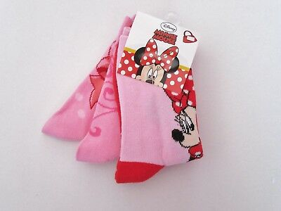 GIRLS DISNEY Minnie Mouse Socks Pack of 3