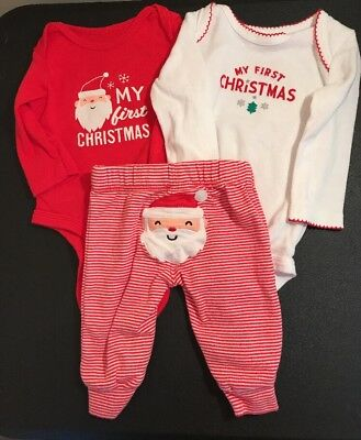 Lot Of 3 Carter's 3 Months Size My First Christmas Outfits Santa