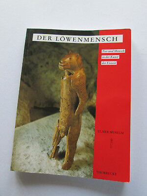 Cast of Paleolithic figurine Löwenmensch /  Lion Man ,  Germany + book