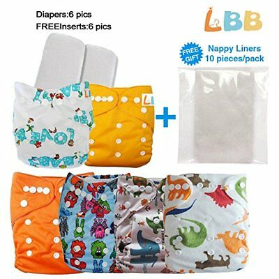 Reusable Baby Cloth Pocket Diapers 6 pcs + 6 Inserts