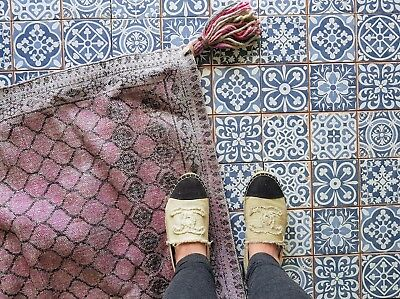 FEZ VINTAGE BLUE Patchwork Moroccan Victorian Encaustic Style Wall ...
