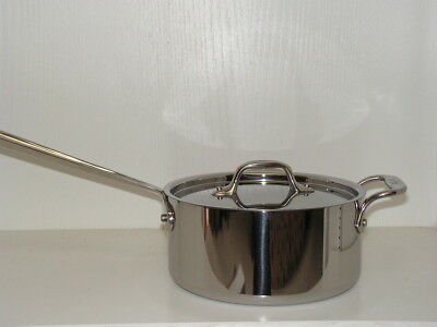 New~All-Clad 3 Qt Sauce Pan Pot~With Loop+Lid~Stainless Steel Cookware~Warranty