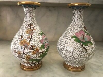 Rare Antique Vtg 1920 pair exceptional enamel over brass floral cloisonné  vases