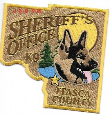 """Itasca County Sheriff  K-9, MN  (4"""" x 4"""" size) shoulder police patch (fire)"""