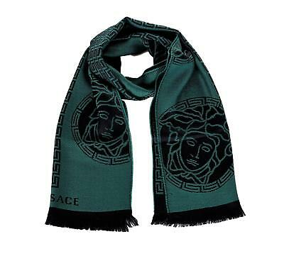 Versace Medusa Head With Greek Key Pattern Wool Scarf Green Black
