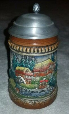 Zoller and Born West Germany Beer Stein - Stoneware Hand Painted of Schwarzwald