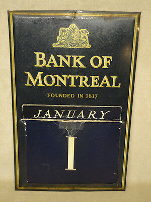 Vintage Bank of Montreal Tin Perpetual Wall Calendar w/ Cards 1940 ish