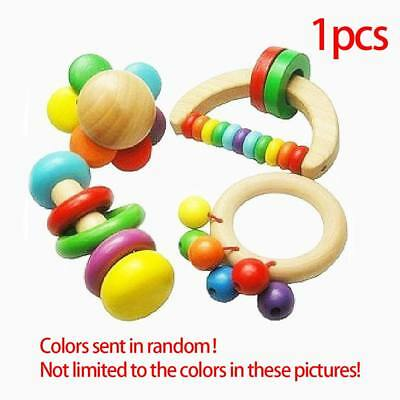 Cute Infant Baby Wooden Toys Handle Rattle Bell Musical Percussion Instrumen New