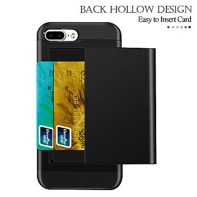 Ultra Thin Card Holder Hybrid Silicone Case Phone Cover For iPhone 8 6s 7 Plus X