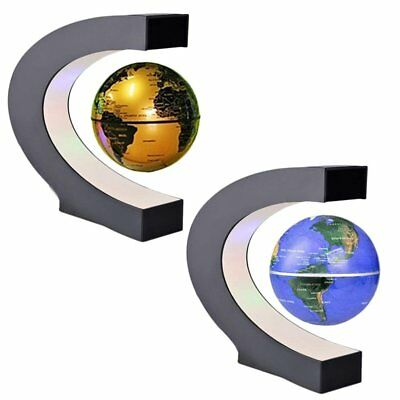 C shape LED World Map Decoration Magnetic New Levitation Floating Globe Light UB