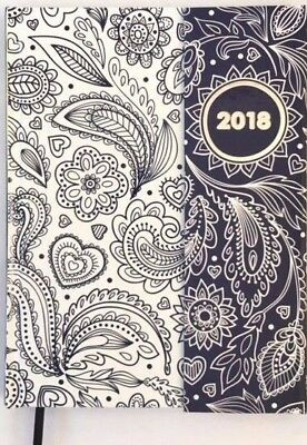 2018 Diary Ozcorp A5 Hardcover Flip (206x152mm) Week to View D310 Navy Paisley