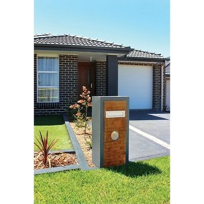 Springfield Pillar Charcoal Stone Colour Strong Reinforced Concrete Letterbox