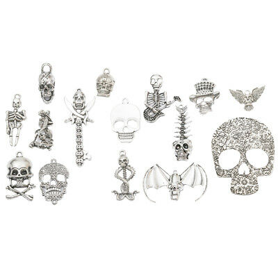 15pcs Mixed Antique Silver Halloween Skull Skeleton Pendants Jewelry Charms