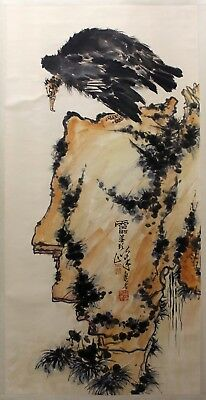 "k337 Chinese hand painting scroll ""bird & eagle"" by Pan Tianshou  潘天寿"