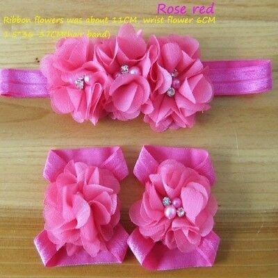 3Pcs Baby Infant Headband Foot Flower Elastic Hair Band Accessories Colorful