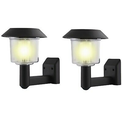 2 x Solar Power Wall Light Fence DEL Outdoor Lighting Powered Garden Black