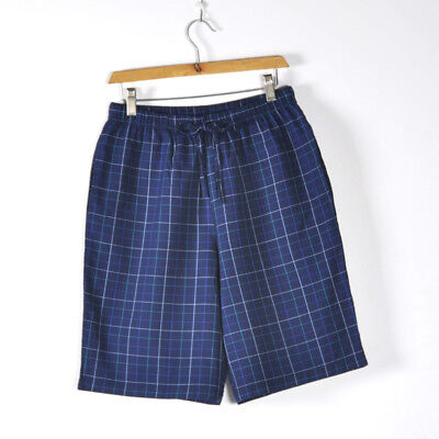 100% Cotton Causal Pajamas  Men's Plaid Sleep Shorts Knit US STOCK