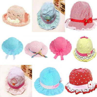 Sweet Flower Lace Holiday Beach Sun Protectione Cotton Caps Hats For Baby Girls