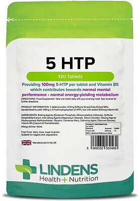 5 HTP 100mg Tablets (120 pack) - one a day [Lindens 2469]