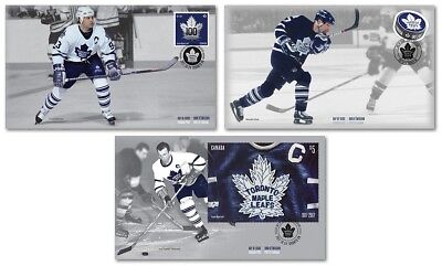 2017 Nhl Hockey Toronto Maple Leafs Ofdc Set Of 3 First Day Covers Stamps