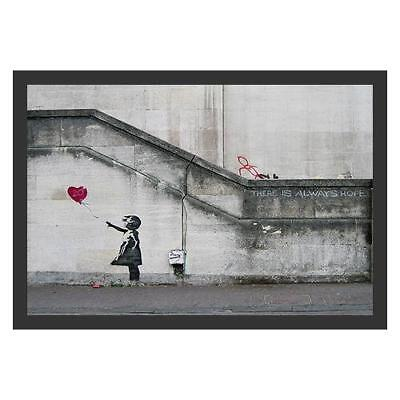 FRAMED There Is Always Hope Balloon Girl by Banksy 18x12 Graffiti Art Home Decor