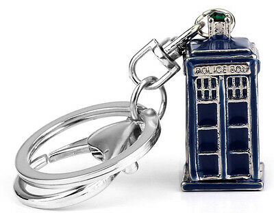 Blue Tardis Key Ring. Novelty Keyring Dr Who Police Box Time Machine FREE POST
