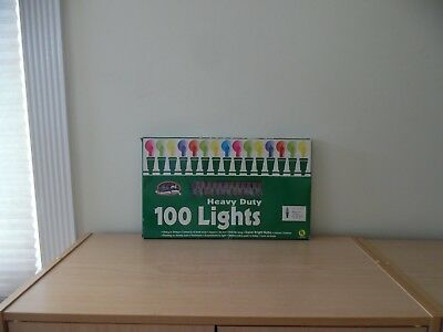 Vintage Christmas Avenue~100 Heavy Duty Multi~Colored Christmas Light Set~Nos