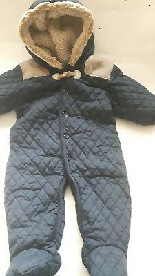 Next Baby Boys Navy Blue Hooded/quilted Snow/pram Suit Age 3/6 Months
