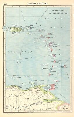1930, ca, Vintage Map- Lesser Antilles, Windward, Leeward Islands