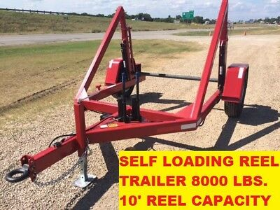 NEW Cable Reel Fiberoptic Power Utility Loading Hydraulic Pump Trailer Texas