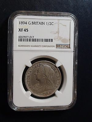 1894 Great Britain Half Crown NGC XF45 1/2c Coin Beautiful And Start At 99 Cents