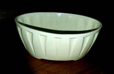 Vintage Mid Century Oval Pottery Planter Yellow w Incised Triangles 640 USA TP
