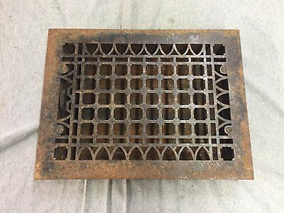 Antique Cast Iron Heat Grate Floor Vent Register Vtg Gothic Old 12x10 08-17B